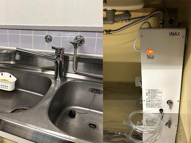 東大阪市でリクシル小型電気温水器設置