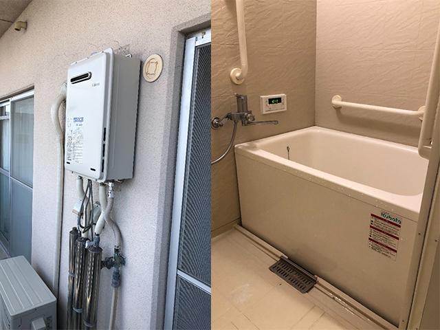 堺市北区で給湯器と浴槽設置
